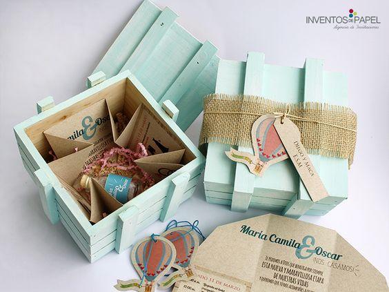 invitacion en caja de madera original