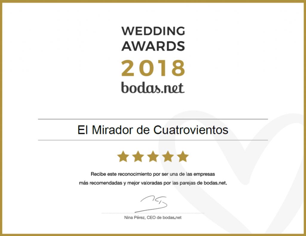 premio wedding awards 2018 de bodas.net al mirador de cuatrovientos