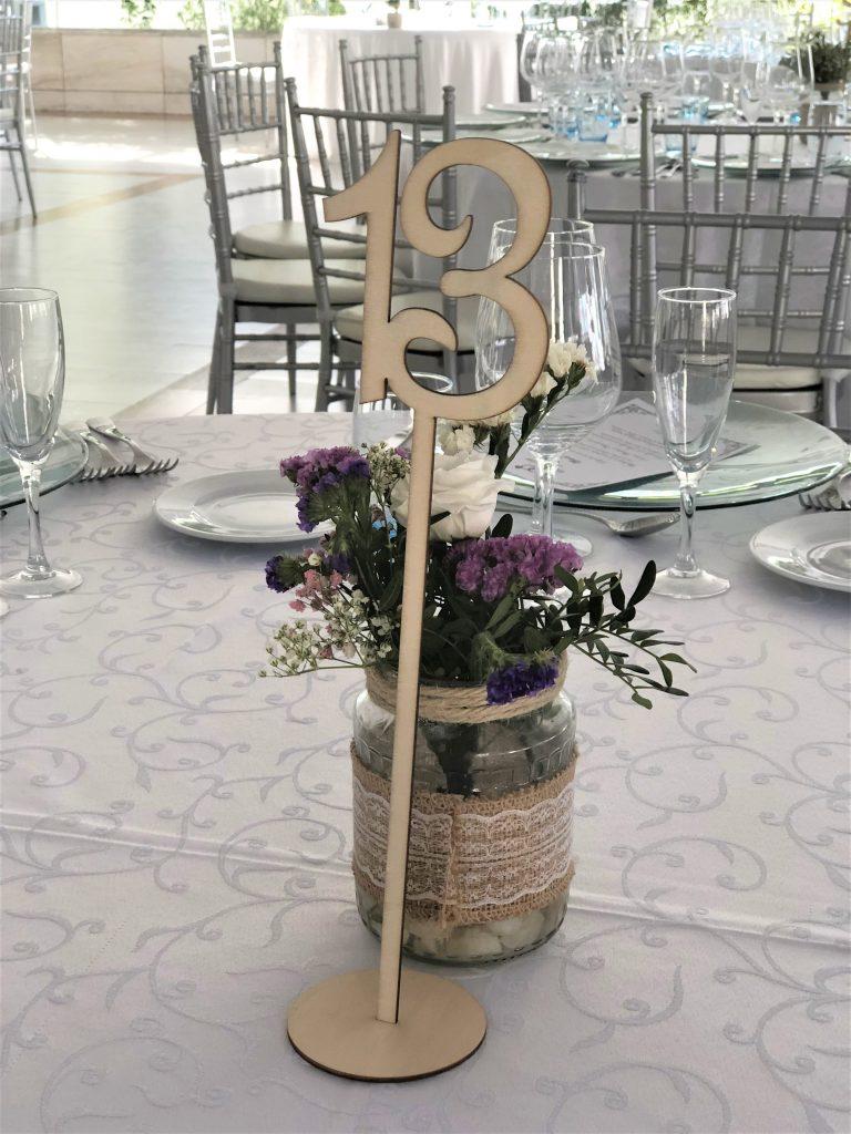 número de mesa para banquete de boda